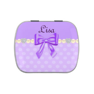 Personalized Lavender Polka Dot Pearls Candy Tin