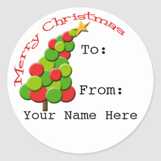 Personalized Leaning Tree Gift Tag Stickers