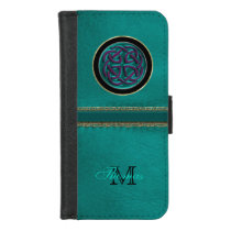 Personalized Leather Celtic Knot Wallet Phone Case