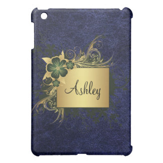 Personalized Leather Floral Frame iPad Case