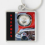 Personalized Leather & Lace Classic Car Keychain