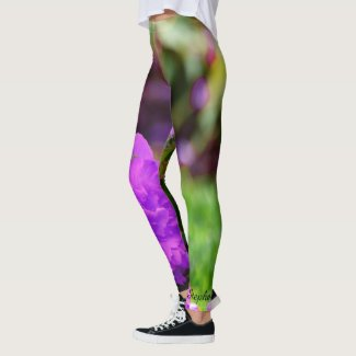 Personalized Leggings, Purple Flowers