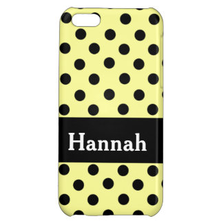 Personalized Lemon & Black Spot Polka Dot iPhone 5C Cases