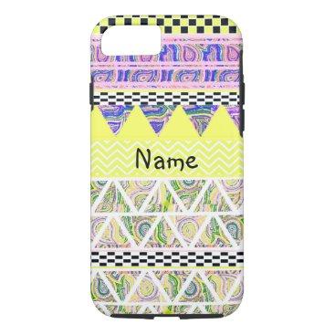 Aztec Themed Personalized Lemon Lilac Funky Boho Tribal Stripe iPhone 8/7 Case