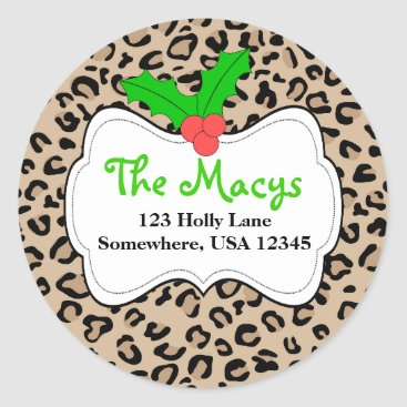 Christmas Themed Personalized Leopard Holiday Address Label Sticker