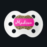 """Personalized Leopard Hot Pink Pacifier<br><div class=""""desc"""">A cute leopard print pattern with pink is featured on this custom pacifier. Perfect for a baby or toddler girl. Easily personalize by adding a name!</div>"""