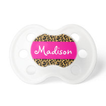 Personalized Leopard Hot Pink Pacifier