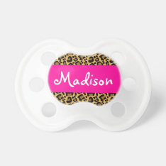 Personalized Leopard Hot Pink Pacifier at Zazzle