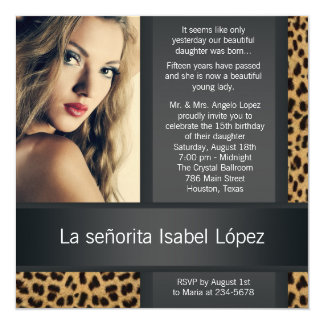 Personalized Leopard Photo Quinceanera Card