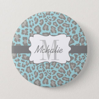 Personalized Leopard Print Blue and Gray Button