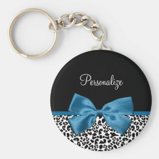 Personalized Leopard Print Classic Blue Ribbon Keychain