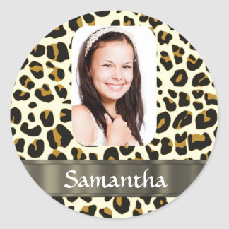 Personalized leopard print classic round sticker