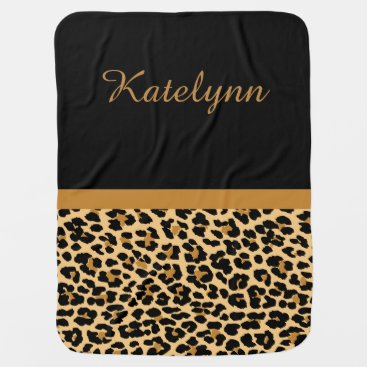 Toddler & Baby themed Personalized Leopard Print Custom Baby Blanket