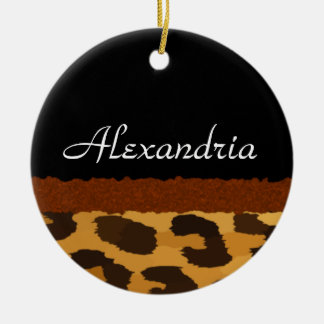Personalized Leopard Print Merry Christmas Ornament