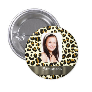 Personalized leopard print photo template 1 inch round button