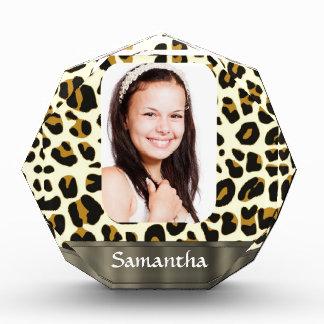 Personalized leopard print photo template acrylic award