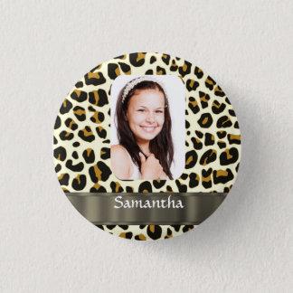 Personalized leopard print photo template pinback button