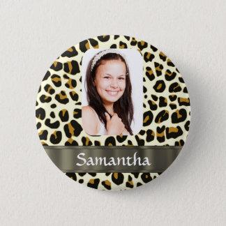 Personalized leopard print pinback button