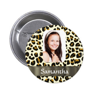 Personalized leopard print pinback button