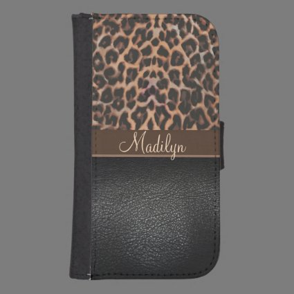 Personalized Leopard Print Wallet Phone Case Galaxy S4 Wallet Case