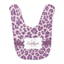 Personalized Leopard Purple and Lavender Baby Bib