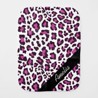 Personalized Leopard Purple Black White Burp Cloth