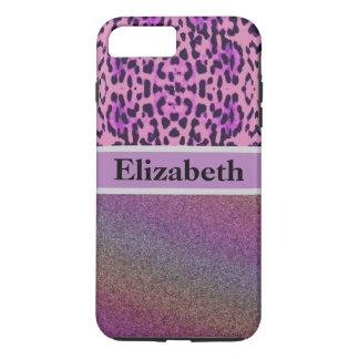 Personalized Leopard Purple Glitter Rhinestone iPhone 7 Plus Case