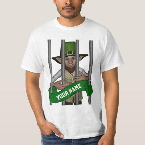 Personalized leprechaun behind bars t shirt zazzle for Custom bar t shirts