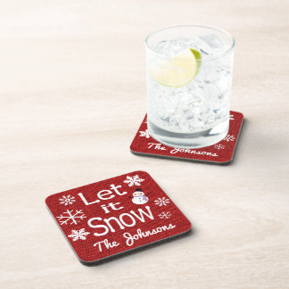 Personalized Let it Snow Beverage Coaster