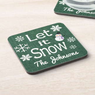 Personalized Let it Snow Coaster