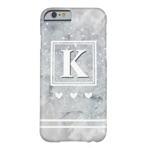 Personalized Letter Monogram Chic Gray Marble Barely There iPhone 6 Case