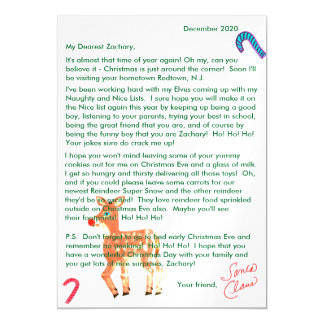 personalized letters from santa reindeer magnetic card
