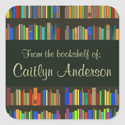 Personalized Library Bookshelves Bookplate Sticker