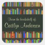 Personalized Library Bookshelves Bookplate Sticker Square Sticker