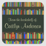 """Personalized Library Bookshelves Bookplate Sticker<br><div class=""""desc"""">Personalized Library Bookshelves Bookplate Sticker with customizable text.</div>"""