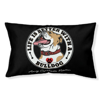 Personalized Life Is Better With A Bulldog Dog Bed