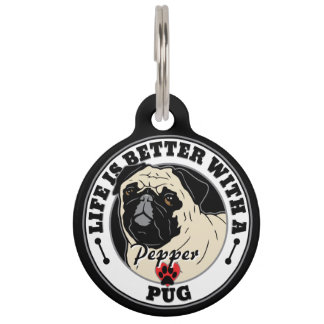Personalized Life Is Better With A Pug Pet Name Tag