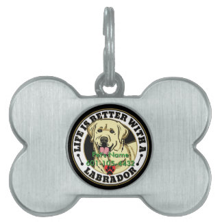 Personalized Life Is Better With A White Labrador Pet ID Tag