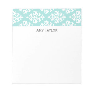Personalized Light Aqua Damask Pattern Notepad