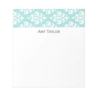Personalized Light Aqua Damask Pattern Memo Notepads
