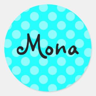 Personalized Light Aqua Polka Dot Classic Round Sticker