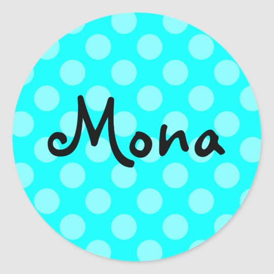 Personalized Light Aqua Polka Dot Classic Round Sticker