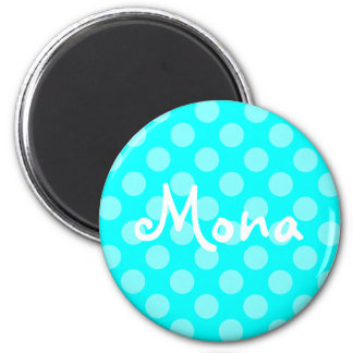 Personalized Light Aqua Polka Dot Magnet