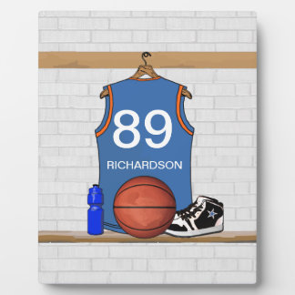 Personalized Light Blue  Basketball Jersey Display Plaques