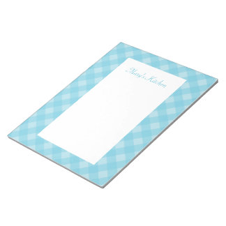 Personalized Light Blue Gingham Notepad