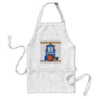 Personalized Light Blue Orange Basketball Jersey Adult Apron