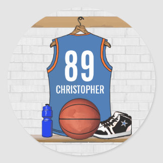 Personalized Light Blue Orange Basketball Jersey Classic Round Sticker