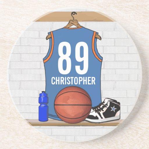 Personalized Light Blue Orange Basketball Jersey Coaster