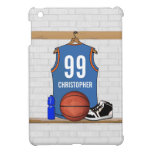 Personalized Light Blue Orange Basketball Jersey iPad Mini Covers