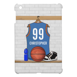 Personalized Light Blue Orange Basketball Jersey iPad Mini Covers